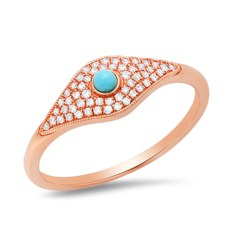 14k rose gold diamond turquoise evil eye hamsa protection ring