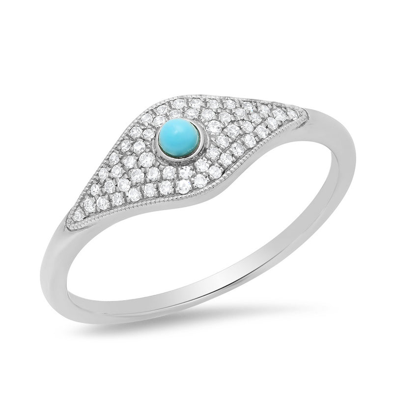 white gold evil eye hamsa ring