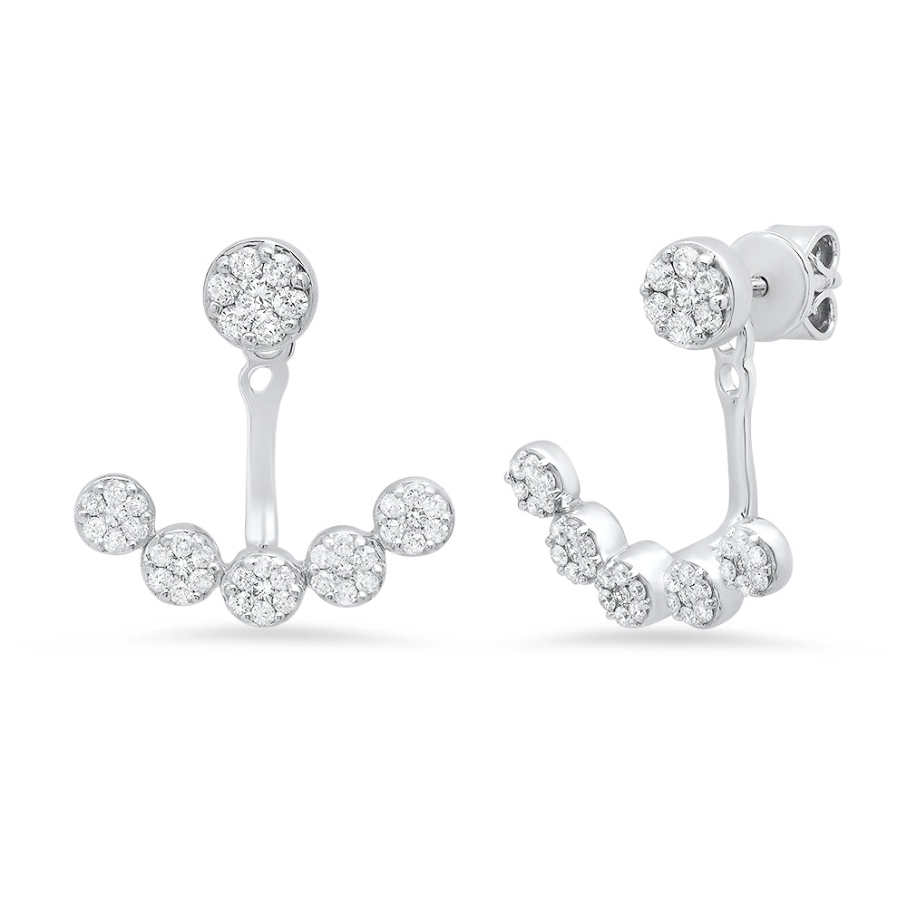 14k white gold diamond cuff jacket earring stud set