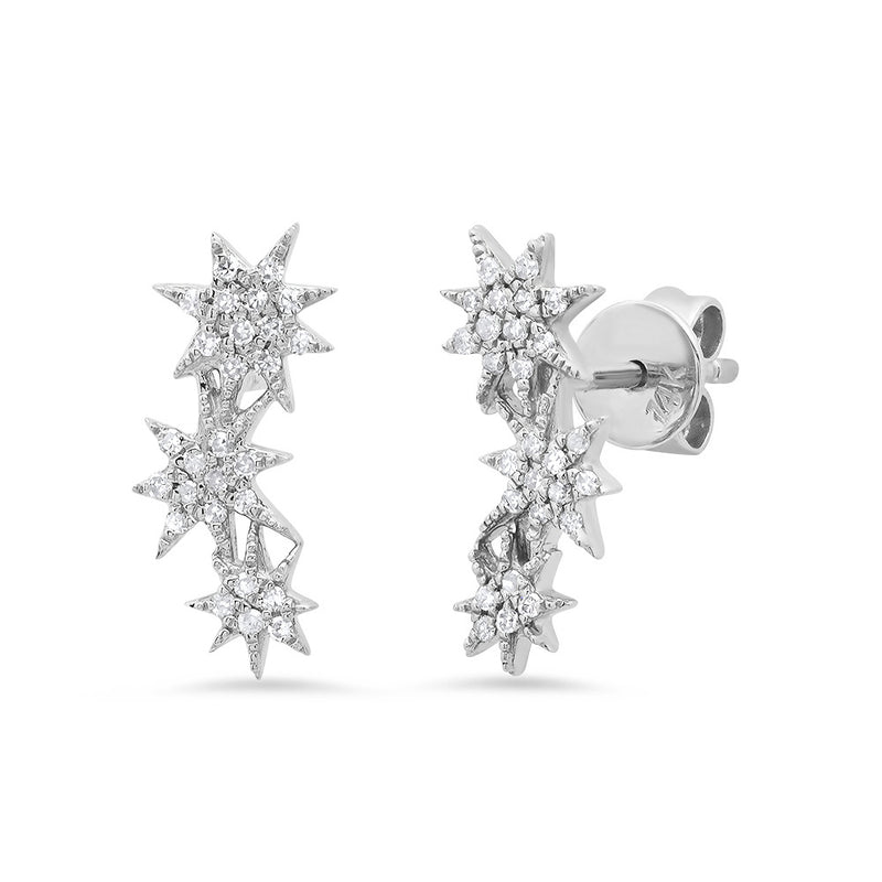white gold 14k diamond stud star earring broken english