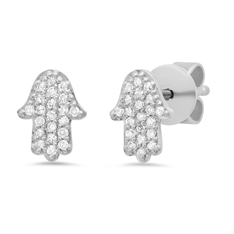 white gold hamsa protection diamond earring stud