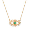 Diamond and Baguette Emerald Evil Eye Protection Necklace