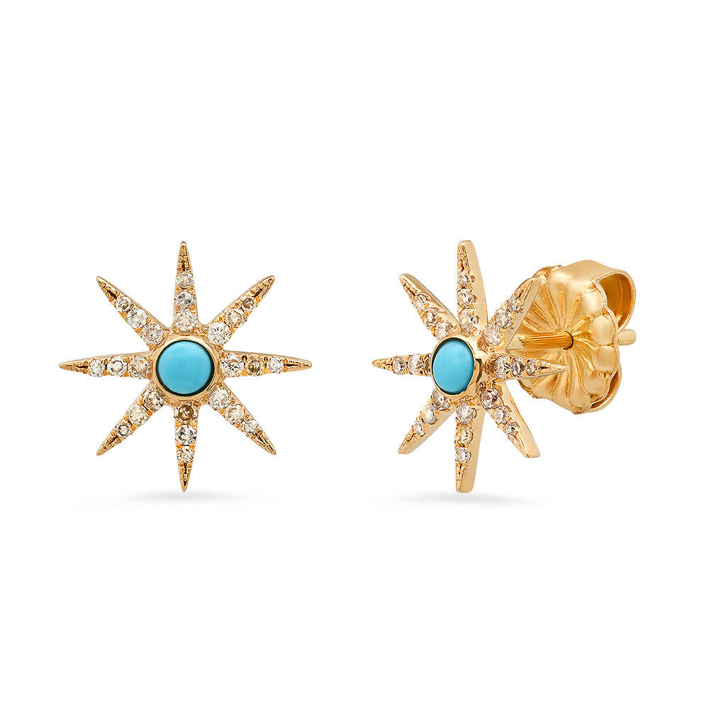 diamond and turquoise star starburst earring
