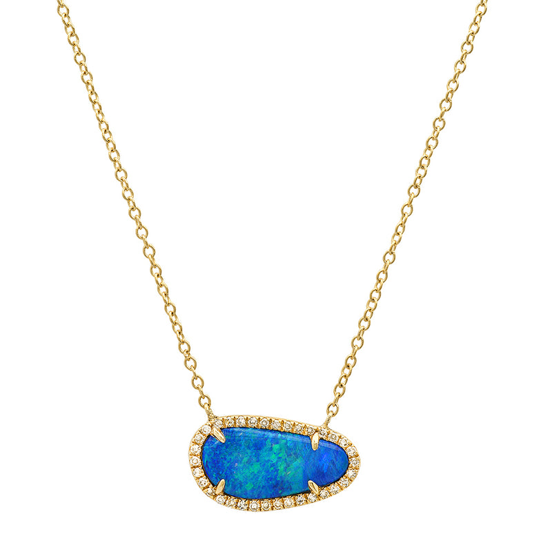 Diamond Free Shape Opal Necklace