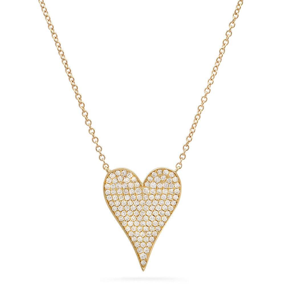 14k solid gold diamond signature heart necklace