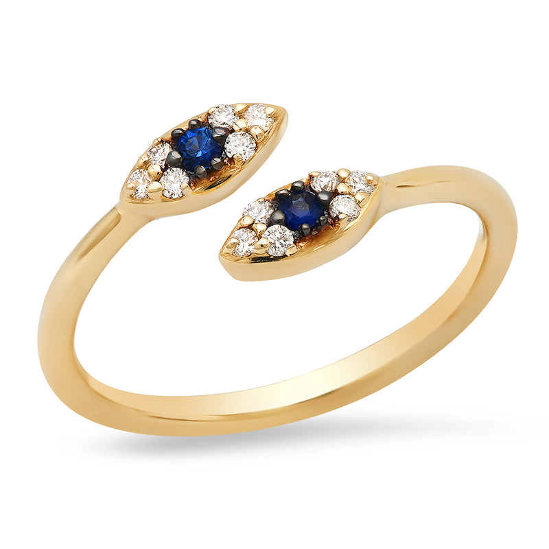EF COLLECTION Diamond & Blue Sapphire Evil Eye Ring