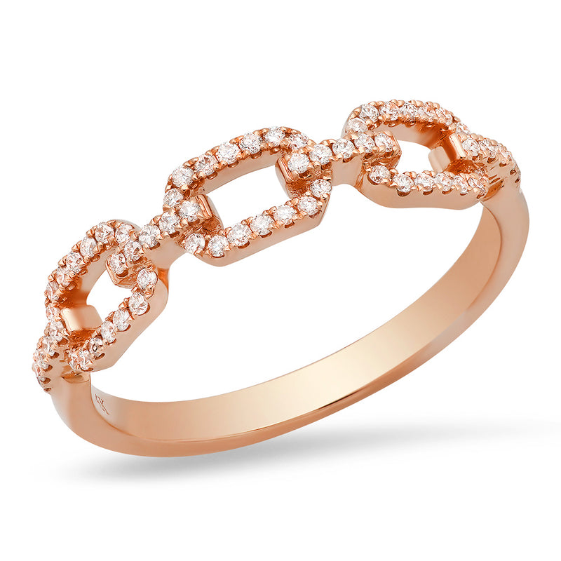 14k rose gold link ring with pave diamonds