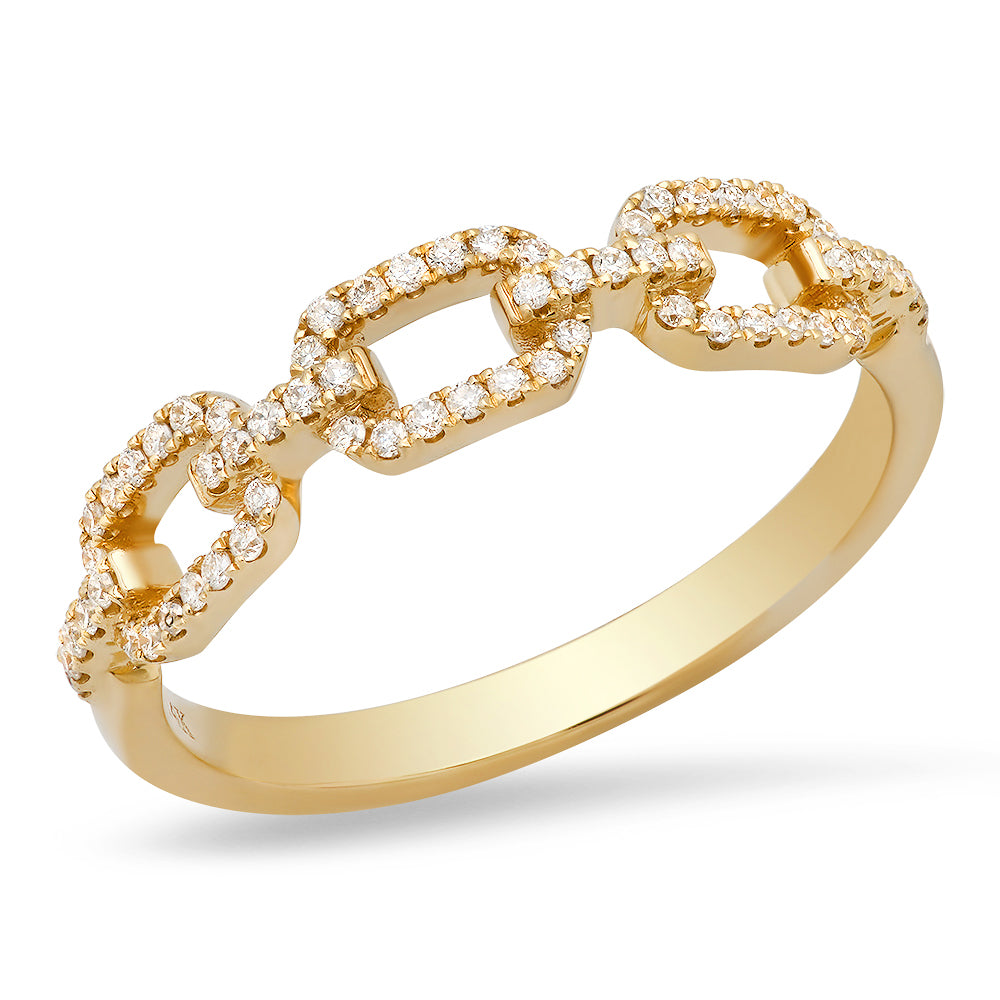 14k solid gold chain link ring