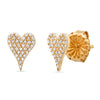 14k yellow gold and diamond pave mini signature modern hear stud earring