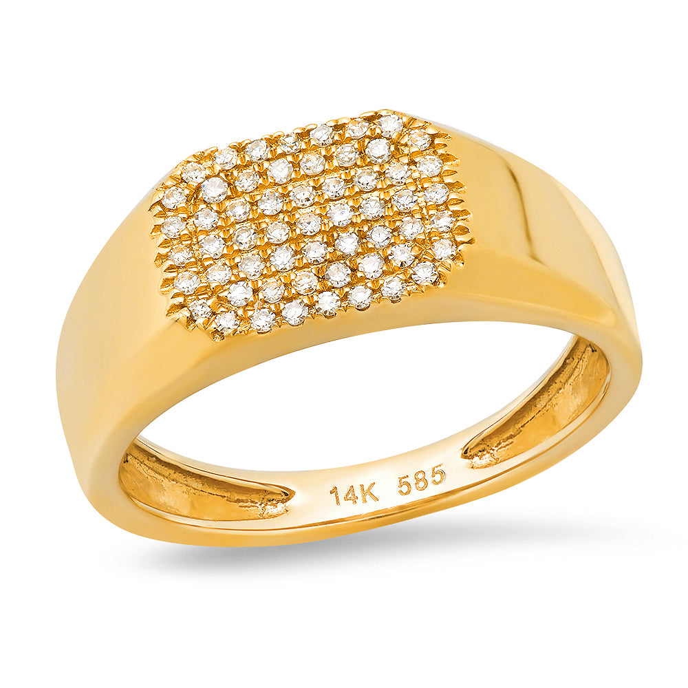 ef collection square signet ring diamond pave 14k yellow gold