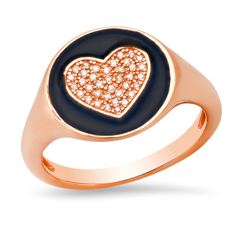 rose gold diamond pinky signet ring