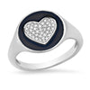 14k white gold diamond black enamel pinky signet ring