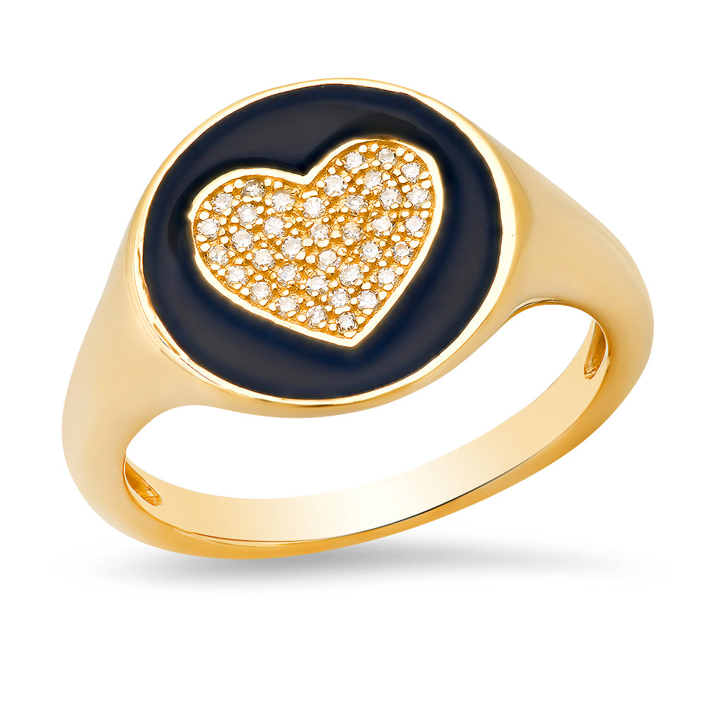 black enamel signet pinky diamond heart ring