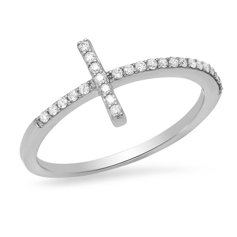 14k genuine gold and diamond unique sideways cross ring