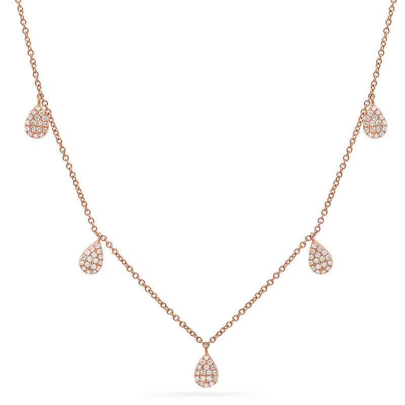 rose gold diamond teardrop layering necklace