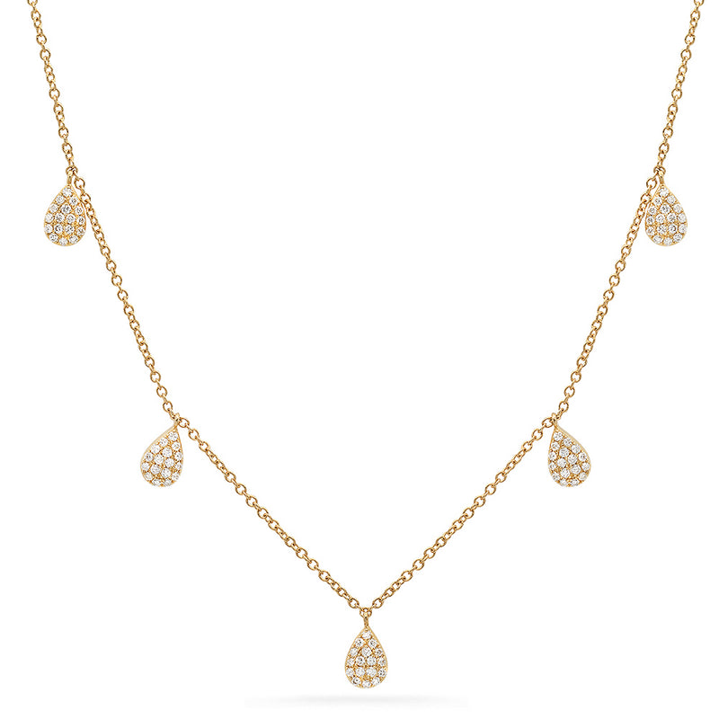14k yellow gold diamond teardrop necklace