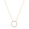 14k solid yellow gold round circle diamond eternity necklace