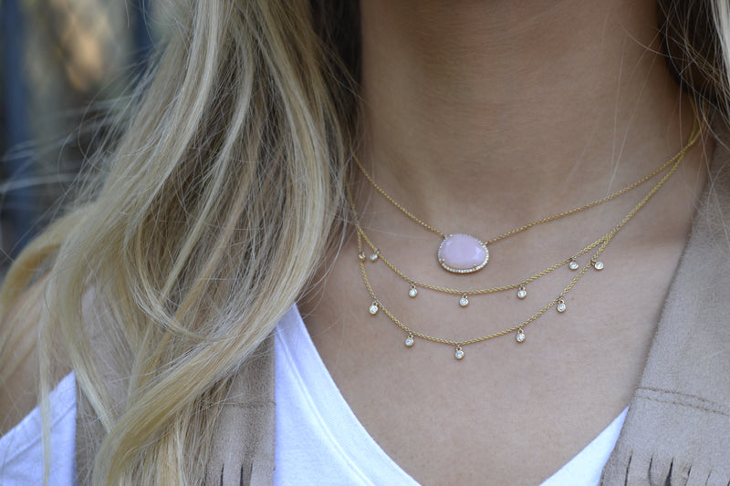 Diamond Double Droplet Necklace