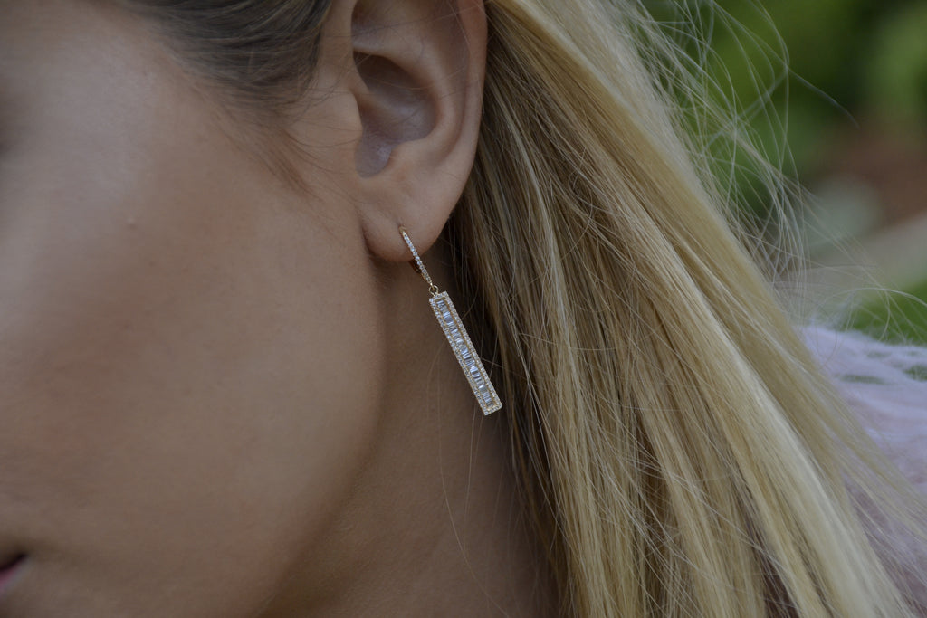 Diamond Baguette Rectangle Earring
