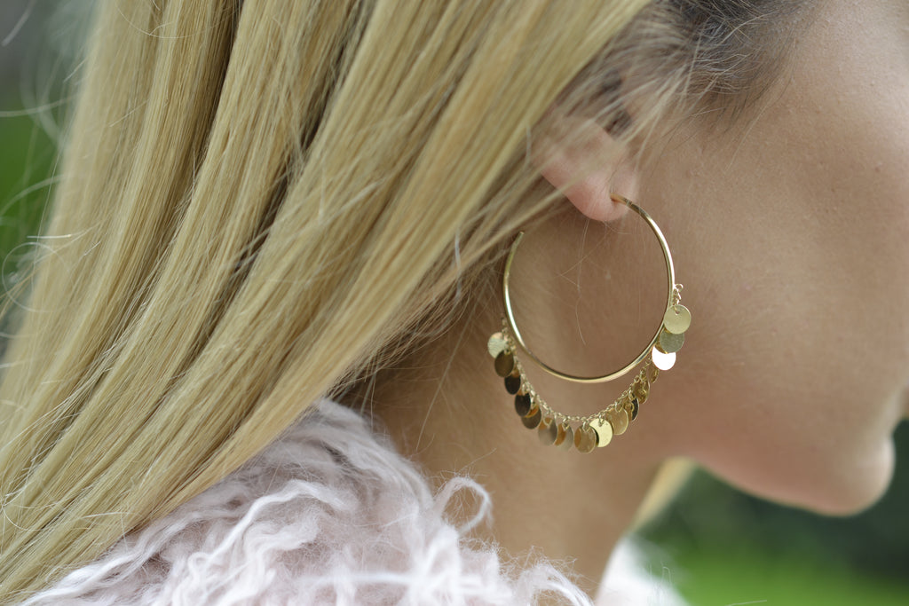 Gold Disc Chained Hoop