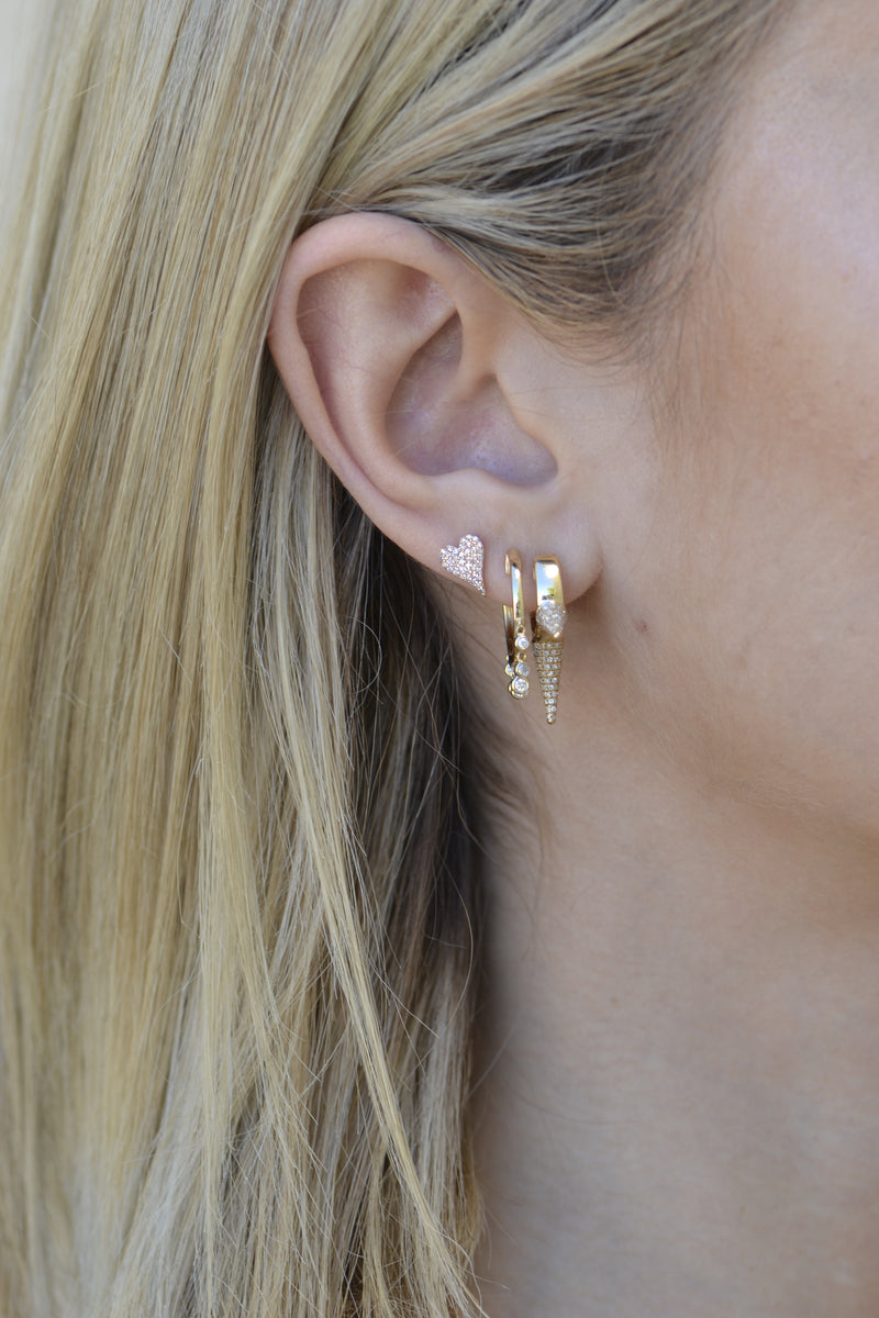 ear stack heart stud earring