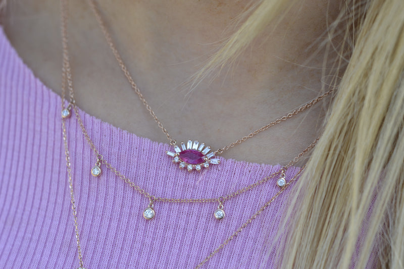 Diamond and Baguette Ruby Marquise Necklace