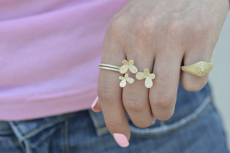yellow gold stacking ring butterfly signet dainty band