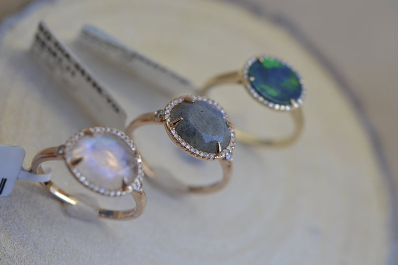 color stone rings semi precious opal moonstone labradorite 14k solid gold genuine diamond