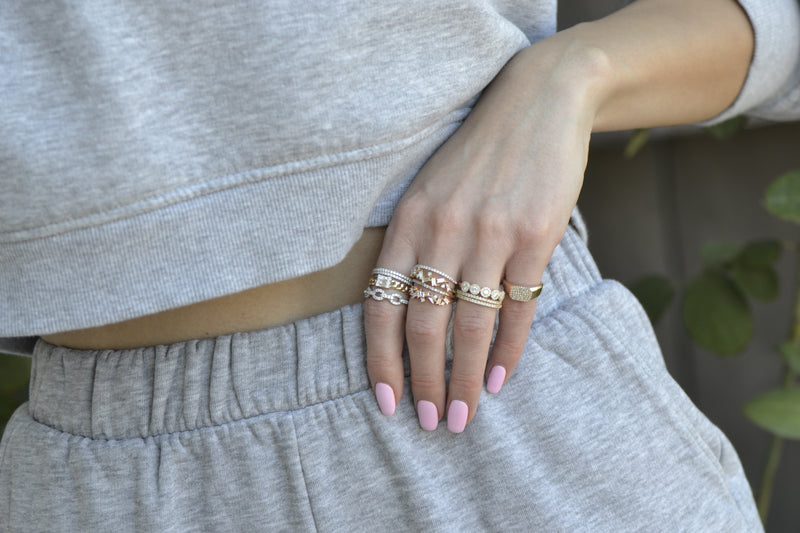 diamond stacking dainty rings