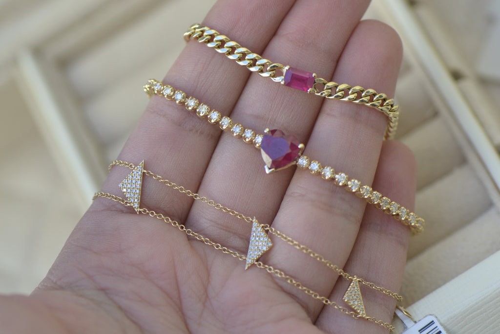 ruby yellow gold diamond bracelet