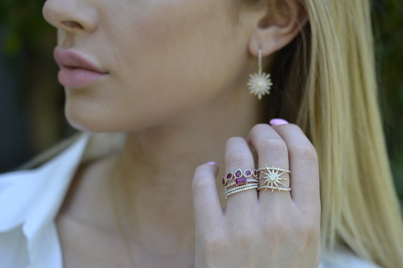 dainty star jewelry with ruby ring stacking