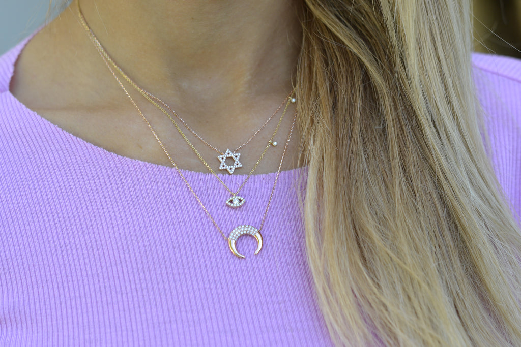 Meira t layering diamond necklaces mixed gold