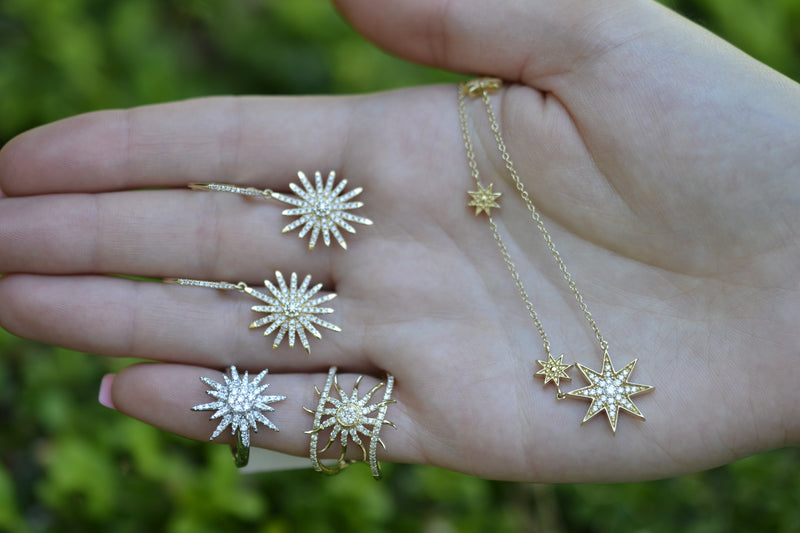 starburst north star star celestial diamond jewelry solid gold real fine jewelry