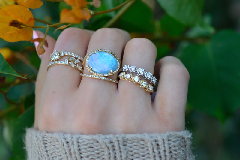 Double Band Blue Topaz Shimmer Doublet Ring