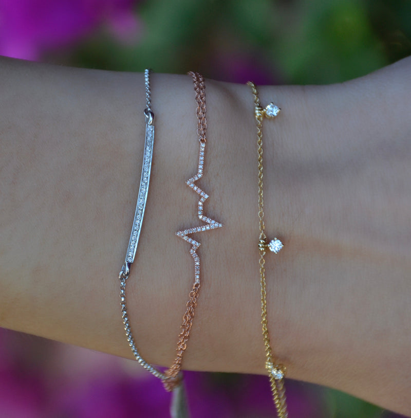 dainty diamond real gold layering bracelets