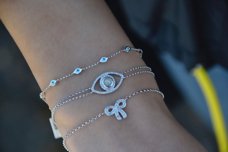 Double Strand Evil Eye Moonstone Bracelet
