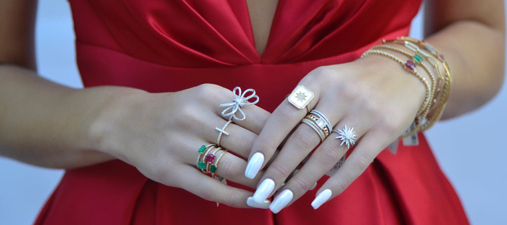 diamond gold stacking ring red dress christmas inspo