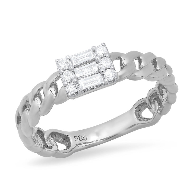 white gold solid 14k diamond baguette ring band
