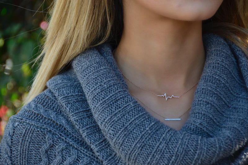 14k solid gold diamond heartbeat ekg layering dainty necklace