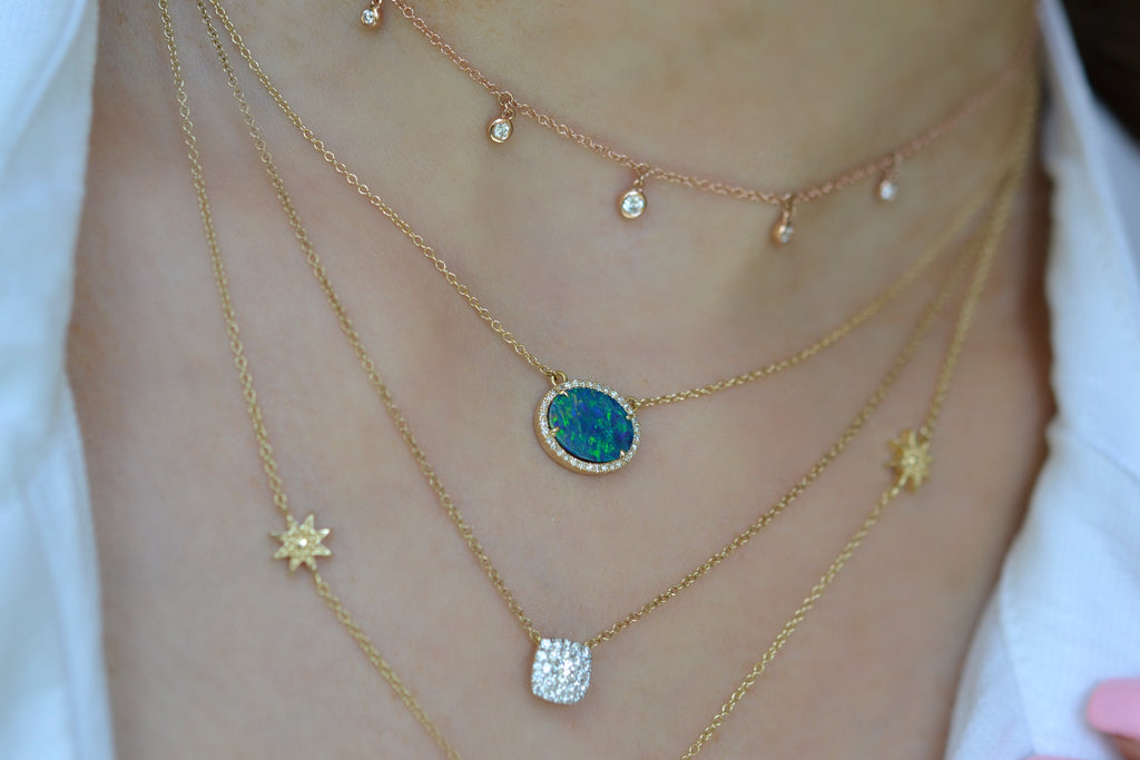 14k gold opal necklace diamond
