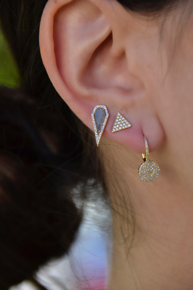 Diamond Labradorite Pointed Kite Stud Earring