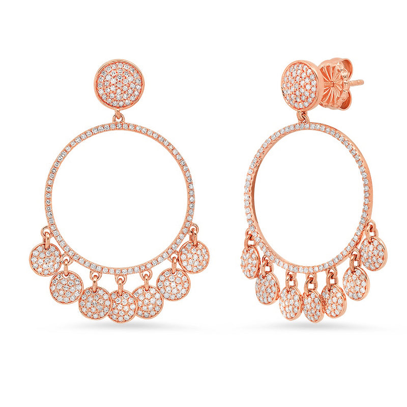 Diamond Disc Dangle Chandelier Earring