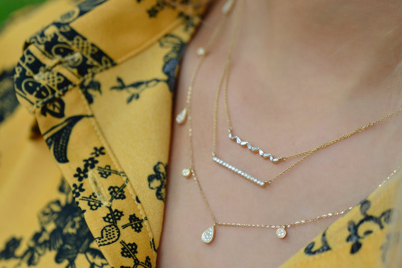 Double Diamond and Baguette Bar Necklace