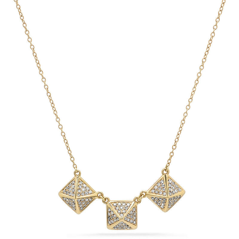 3 Rock Stud Diamond Necklace