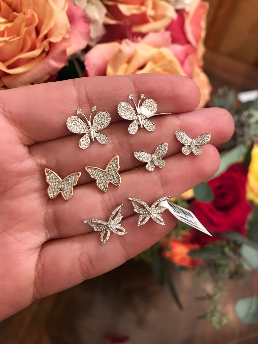 14k gold diamond stud butterfly earrings