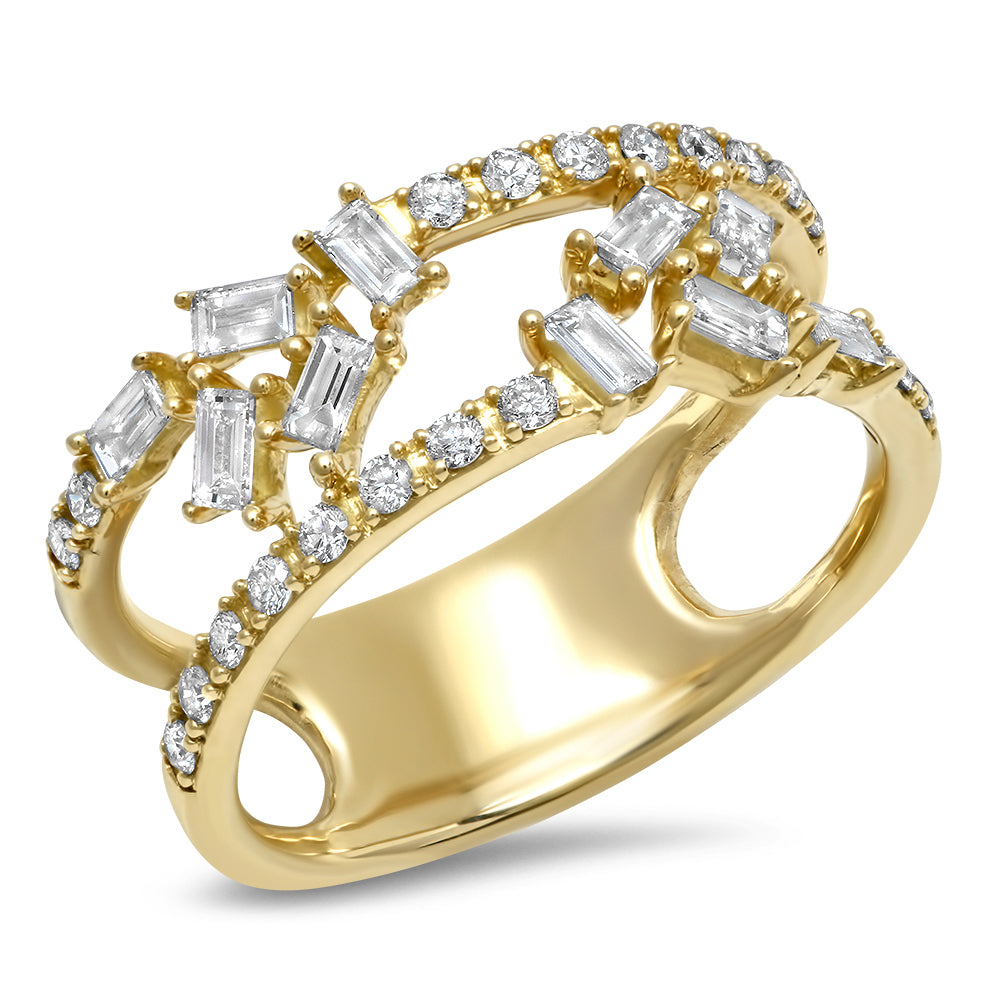 Double Band Diamond Baguette Cluster Ring