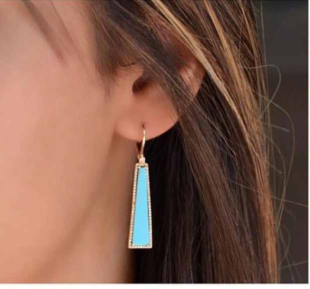 Diamond Turquoise Elongated Earring