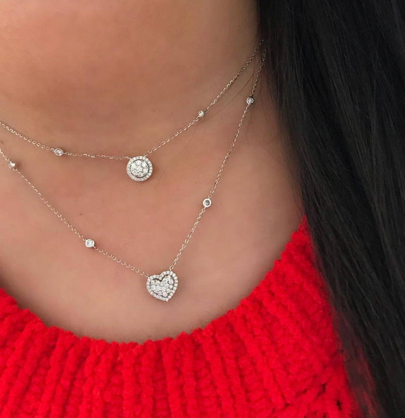 Double Layer Circle/Heart Halo Choker Necklace