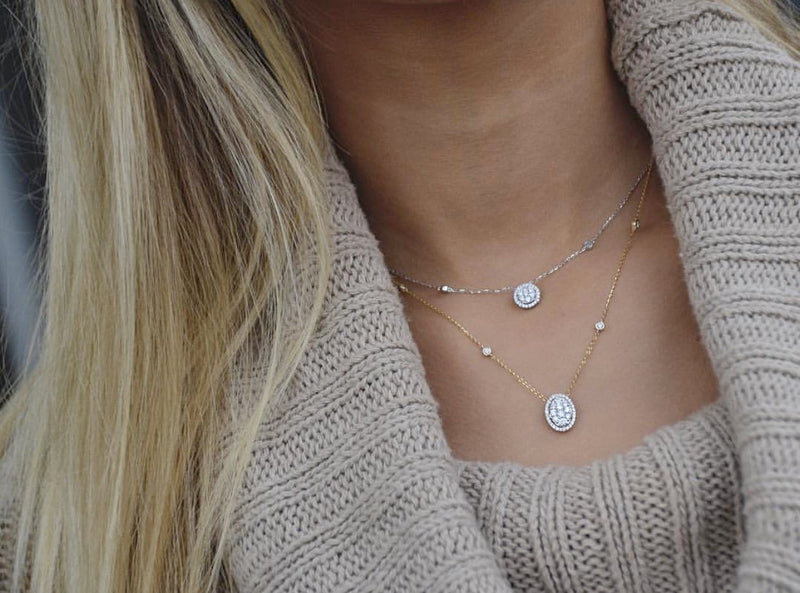 Double Layer Circle/Oval Halo Choker Necklace