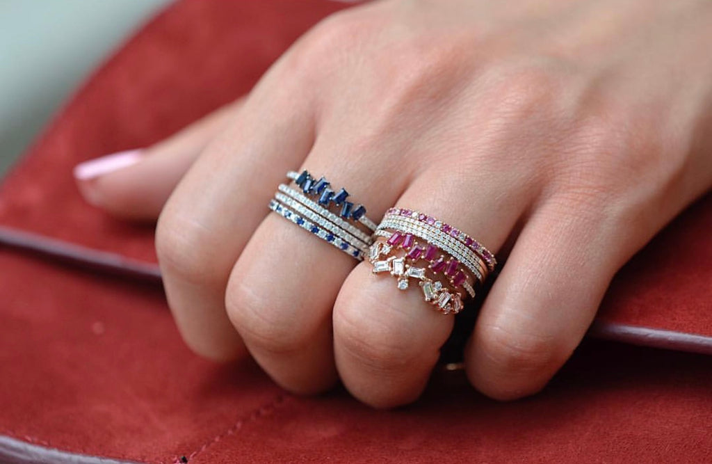 Diamond Sapphire and Ruby Eternity Band